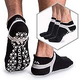 Muezna Men's Non Slip Yoga Socks, Anti-Skid Pilates Barre Fitness Socks with Grips, 3 Pack of Black