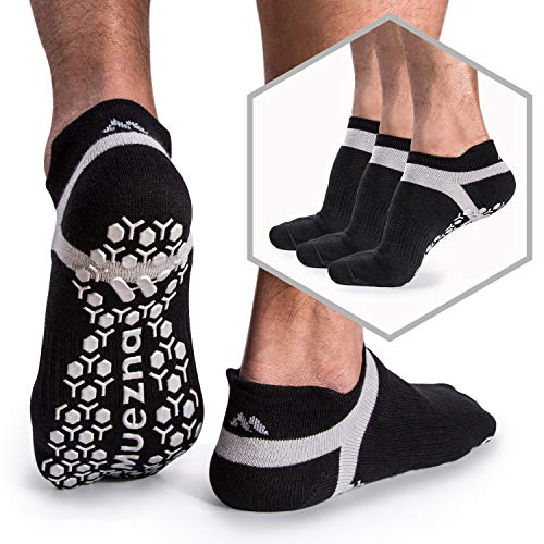 - Muezna Men's Non-Slip Yoga Socks, Anti-Skid Pilates, Barre, Bikram Fitness Hospital Slipper Socks with Grips
