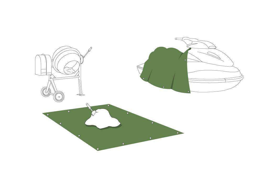 Lona protectora 4 x 5 m Polietileno 140 gr // m2 verde JAROLIFT Lona de cobertura