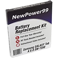 Samsung GALAXY Tab A 8.0 SM-T350 Battery Replacement Kit with Video Installation DVD, Installation Tools, and Extended Life Battery
