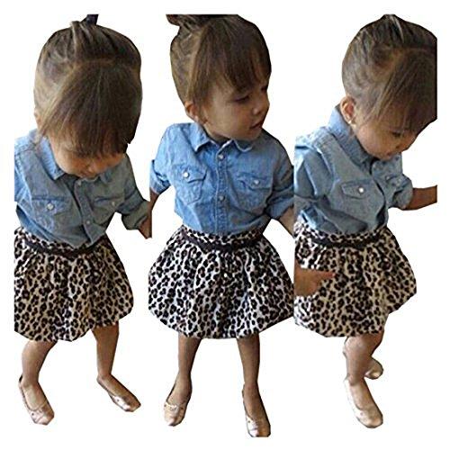 Skirt Blouse (Rorychen Fashion Leopard Girls 3PCS Clothing Set(Blouse,Skirt,Belt) 4T)