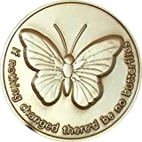 If Nothing Changed There'd Be No Butterflies Bronze Serenity Prayer Medallion Butterfly Pocket Token by RecoveryChip