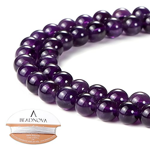 (BEADNOVA Natural Amethyst Purple Quartz Beads Natural Crystal Beads Stone Gemstone Round Loose Energy Healing Beads with Free Crystal Stretch Cord for Jewelry Making (6mm, 63-65pcs))