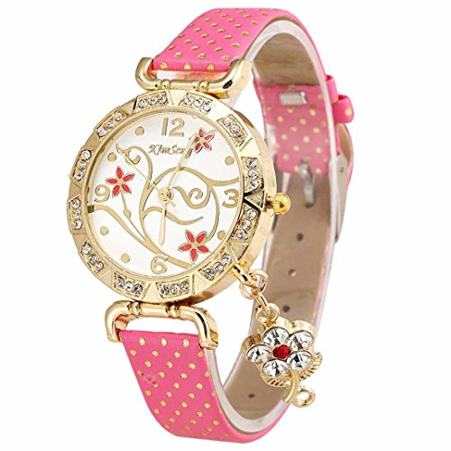 Ruhiku GW Women Orchid Pattern Bracelet Leather Diamond Quartz Wrist Watch PU Band Round Dial Analog Display Wristwatches (Hot - Round Rock Macy's