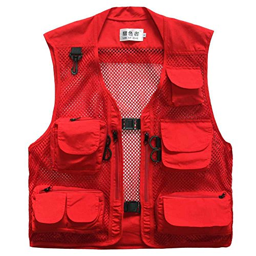 Lieshezhe Men Mesh Breathable Multi-Pocket Vest Outdoor Travelers Fly Fishing Photography (Red, XXXL)