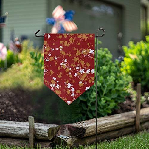 Vertical Overlay - Polyester Garden Flag Outdoor House Yard Flag Vertical Double Sided Wedding Party Decor Pattern Overlay 12x18.5