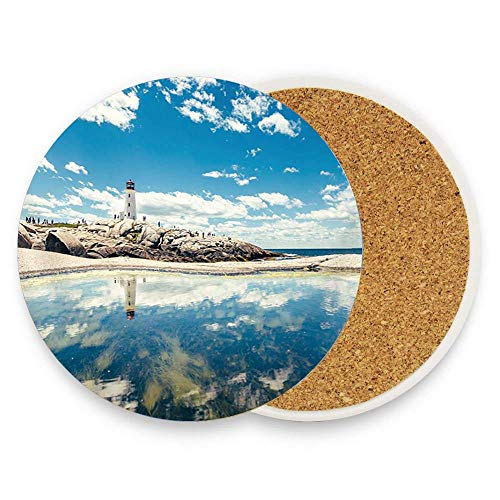 Lighthouse on Stone with Ocean Absorbent Coaster For Drinks Ceramic Thirsty Stone With Cork Back Fit Big Cup, No Holder Parck 1