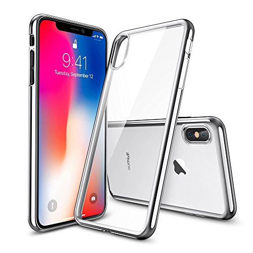 Mds 9 Stand (iPhone X Case, Kaede Slim Crystal Clear Soft TPU Cover Protective Case for Apple iPhone X / iPhone 10 with Tempered Glass Film Screen Protector [Support Wireless Charging] (Silver))
