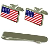 United States Flag Silver Cufflinks Tie Clip Engraved Gift Set
