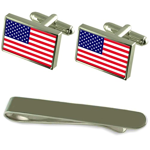 United States Flag Silver Cufflinks Tie Clip Engraved Gift Set by Select Gifts