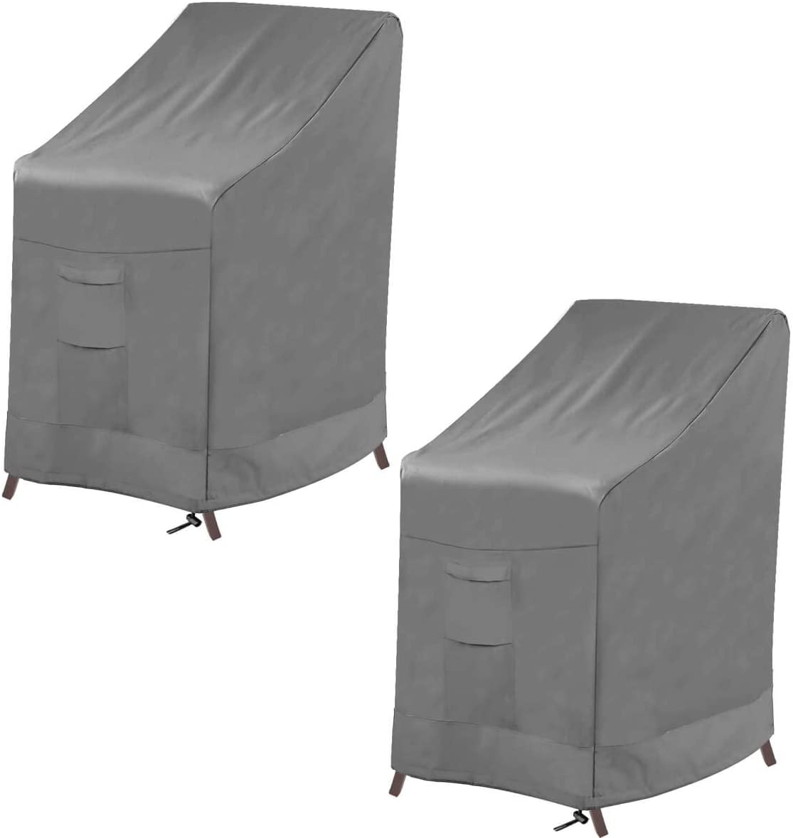 Vailge Stackable Patio Chair Cover,100% Waterproof Outdoor Chair Cover, Heavy Duty Lawn Patio Furniture Covers,Fits for 4-6 Stackable Dining Chairs,2 Pack-36 Lx28 Wx47 H,Grey