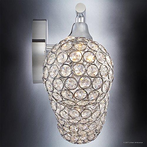 Luxury Crystal Globe LED Bathroom Vanity Light, Large Size: 8''H x 32.5''W, with Modern Style Elements, Polished Chrome Finish and Crystal Studded Shades, G9 LED Technology, UQL2632 by Urban Ambiance by Urban Ambiance (Image #4)