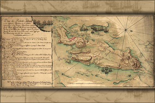 (24x36 Poster; Map Of Rhode Island, Battle Of 1778 In French; Antique)