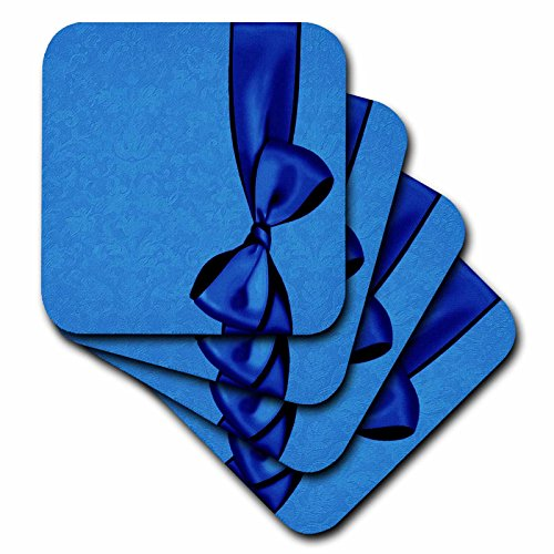 3dRose CST_33567_1 Royal Blue Faux Satin Bow on Cobalt Blue Grunge Damask Background-Soft Coasters, Set of 4 Blue Faux Satin Bow