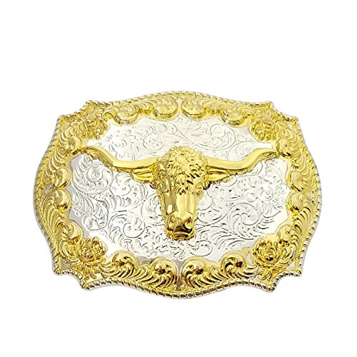 QUKE Western Cowboy Texas Golden Long Horn Bull Head Belt Buckle