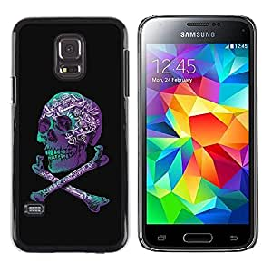 Paccase / SLIM PC / Aliminium Casa Carcasa Funda Case Cover - Purple Black Crossbones Teal Skull - Samsung Galaxy S5 Mini, SM-G800, NOT S5 REGULAR!