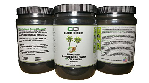 Activated Coconut Charcoal Powder - Food Grade - Used for Teeth Whitening, Detoxification, Beauty Masks / Scrubs, Etc. - 100% All Natural - Vegan by Carbon Organics (Image #1)