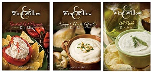 Wind & Willow Dip Mix Variety Pack - Asiago & Roasted Garlic, Dill Pickle, and Roasted Red Pepper
