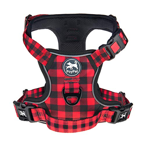 PoyPet No Pull Dog Harness, [Release on Neck] Reflective Adjustable No Choke Pet Vest with Front & Back 2 Leash Attachments, Soft Control Training Handle, Buffalo Plaid(Checkered Red, Large)