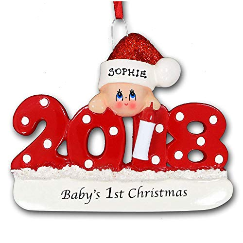 FLORIDA GLASSES 2018 Baby's First 1st Christmas Personalized Ornament Red Santa Claus Stocking Hat for Baby Boy or Baby Girl for Holiday Tree