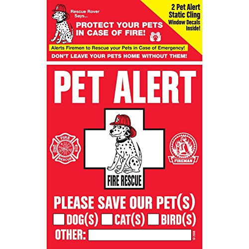 PET SAFETY ALERT 234001 2-Count Static Cling Window Decal for - Alert Decals
