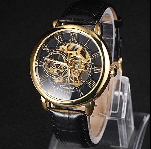 WINNER Men's Black Leather Strap Watch 001 - 5