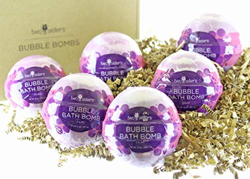 6 Lilac Bubble Bath Bombs - Individually Wrapped Spa Fizzies by Two Sisters Spa