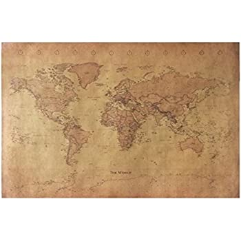 Amazon world map vintage style poster print posters prints chimage choose size the old world map huge large vintage style retro paper poster home wall decoration gumiabroncs Gallery