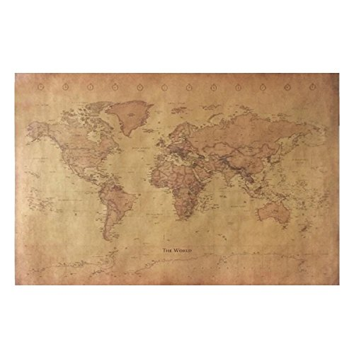 Poster Map World Old (CHIMAGE Choose size: The old World Map huge large Vintage Style Retro Paper Poster Home wall decoration)