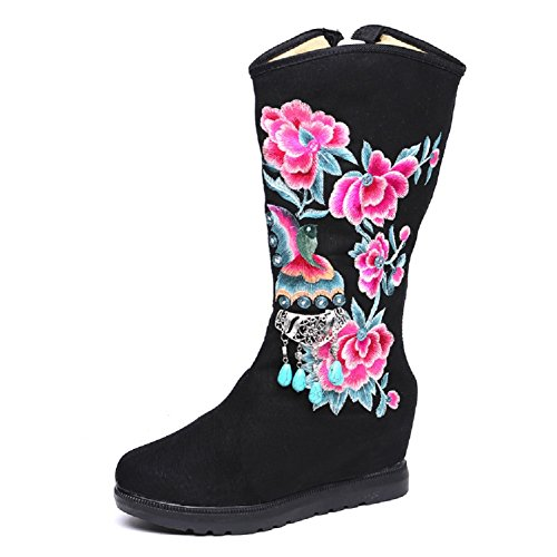 Lazutom Women Lady Vintage Chinese Style Embroidery Wedge Boots Black