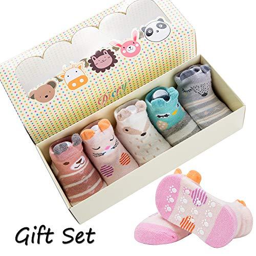 Dicry 5 Pairs Infant Baby Girl Socks Set Grip Non Slip Walking Socks 6-18 Months