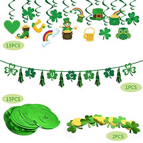 St Patricks Day Accessories Decorations for Irish Lucky Party Supplies Hanging Banner Decor Green Shamrock Foil Swirl Home Party Favors