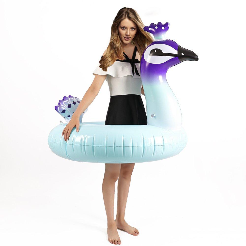 PovKeever - Anillo hinchable para piscina de pavo real, 120 cm, flotador gigante para piscina de verano, anillo de natación, divertido, juguetes inflables ...