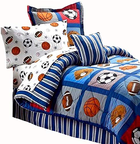 BOYS SPORTS PATCH Football Basketball Soccer Balls Baseball Blue REVERSIBLE Comforter Set (FULL SIZE 8pc Bed In A - Bedding Bed Football Set Sheets