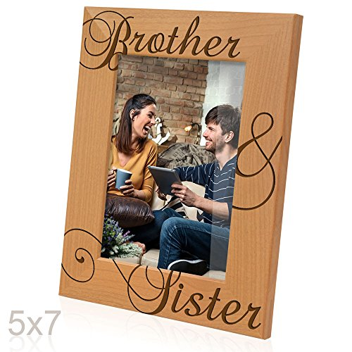 Kate Posh - Brother & Sister Engraved Natural Wood Picture Frame, Siblings Gifts, Wedding Gifts, Little Sister, Little Brother, Big Sister, Big Brother (5x7-Vertical)
