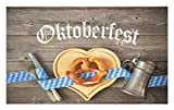 Lunarable Oktoberfest Doormat, Oktoberfest Beer Festival Cutlery Ribbon and Cutting Board on Restaurant Table, Decorative Polyester Floor Mat with Non-Skid Backing, 30 W X 18 L inches, Blue Gray