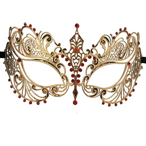 Xvevina Luxury Mask Masquerade Ball Venetian Party Vintage Metal Masks (Princess Red Rhinestone)]()