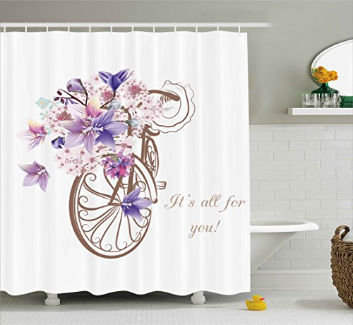 Ambesonne Floral Shower Curtain by, Bicycle with Basket of Flowers Vintage Spring Time Artwork Image, Fabric Bathroom Decor Set with Hooks, 75 Inches Long, Umber Lavander and Light Pink