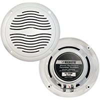 Pair Of Magnadyne WR40W 5 Inch Waterproof Marine Boat & Hot Tub Dual Cone Audio Stereo Speakers - White