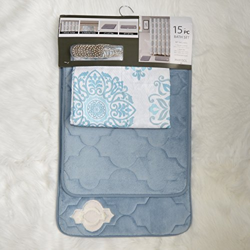 Turquoise Bathroom Set: 2 Memory Foam Floor Mats, Fabric Shower Curtain, Silver Roller Ball Shower Hooks ()