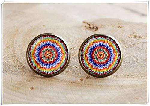 no see long time Bohemian Stud Earrings,Mexican Art Stud Earrings,Mexican Folk Art, Mexican Jewelry, Colorful Statement Earrings
