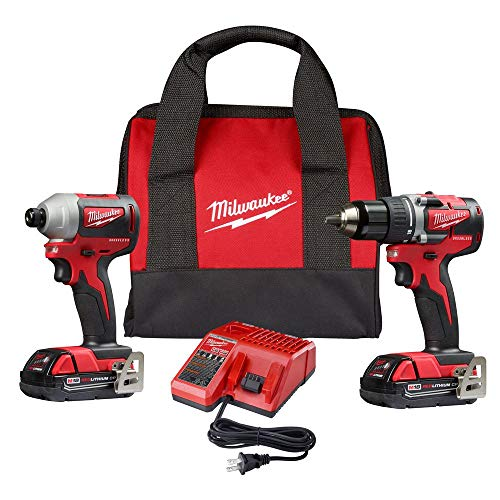 Milwaukee M18 18-Volt Lithium-Ion Brushless Cordless Compact Drill/Impact Combo Kit (2-Tool) W/ (2) 2.0Ah Batteries, Charger & Bag