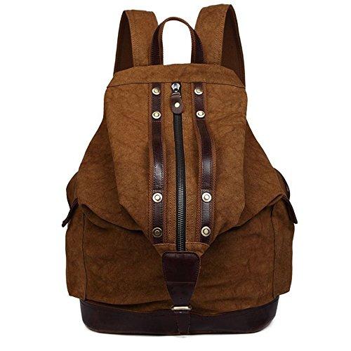 YZML Backpacks Vintage Unisex Lienzo Mochila mochila daypack Casual College School Bookbag bolsa de ordenador portátil para Camping Viaje Ourdoor senderismo,deep green coffee