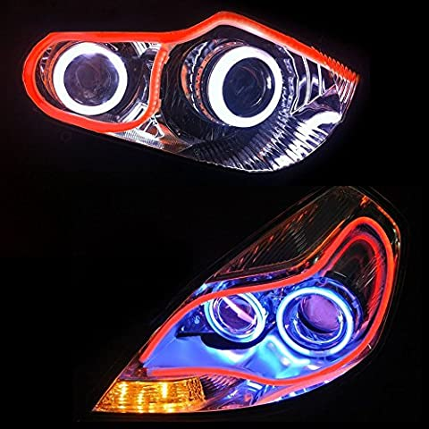 24inch/60cm Automobile LED Neon Strip Light, Illuminating Headlight, Flexible Daytime Running & Contouring Tube Light OEM-Looking Audi/BMW/Mercedes Style Headlight (Red)