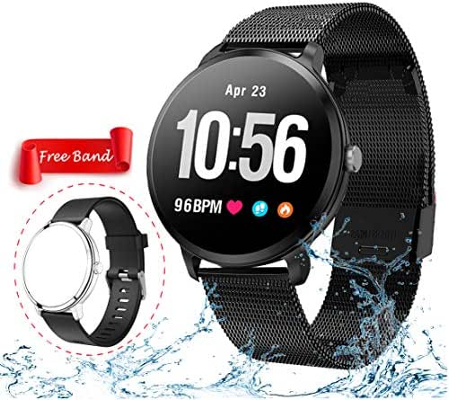 Smart Watch, Fitness Tracker with Heart Rate & Blood Pressure Monitor for Android & iOS, Waterproof Activity Tracker Watch with Sleep & Blood Oxygen Monitor, Calorie Counter & Pedometer for Women Men