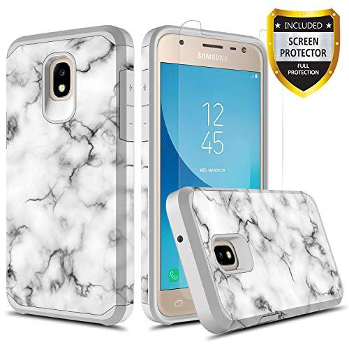 GORGCASE Samsung Galaxy J3 2018 Cute Case,J3 Eclipse 2/J3 Orbit/J3 Achieve/Express Prime 3/J3 Prime 2/Amp Prime 3 with Screen Protector,Slim Teen Girls Women Armor Protective Cover Marble White