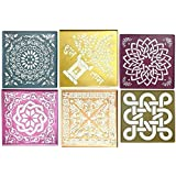 Vardhman Assorted Designs Plastic Stencils for Marble and Burada Rangoli(12x12-inches, Multicolour) Set of 6