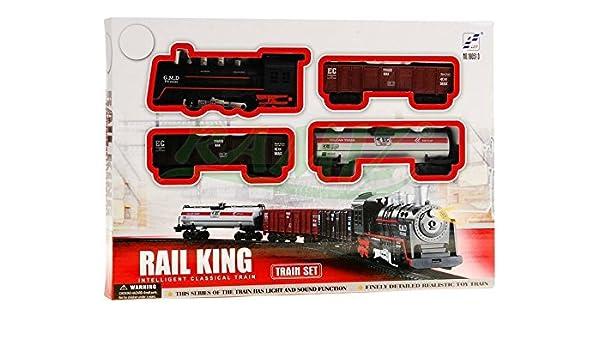 Tren electrico de juguete 4 vagóns RAIL KING: Amazon.es: Juguetes y juegos