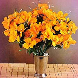 Inna-Wholesale Art Crafts New 6 Orange Bushes Silk Mini PRIMROSES Decorating Flowers Bouquets Decorations Perfect for Any Wedding, Special Occasion or Home Office D?cor 16