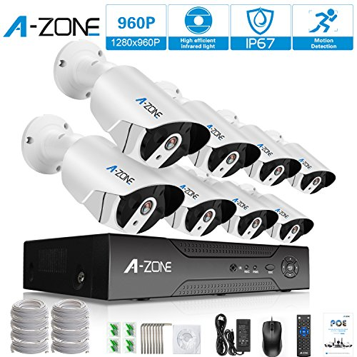 Security Camera System, A-ZONE 8ch PoE IP Surveillance Kit with 8 Outdoor/Indoor 3.6mm Fixed lens 1.3 Megapixel 960P Cameras, Free Remote View, Super HD Night Vision- with 2TB HDD by A-ZONE